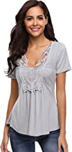 Womens Peasant Tops Deep V-Neck Lace Ruched Front Ruffle Blouse Pleated Shirts