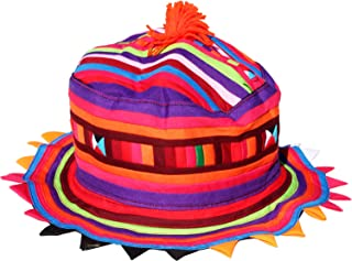 Raan Pah Muang Carnival Striped Spike Rim Party Hat Made by Lisu Hill Tribes in Thailand