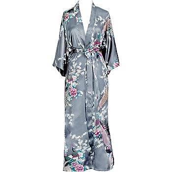 OLDSHANGHAI Women's Kimono Robe Long - Peacock & Blossoms