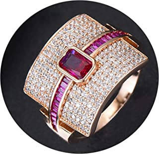 Luccaful Luxury Statement Stackable Ring for Women Wedding Cubic Zircon Engagement Dubai Punk Bridal Top Finger Rings,8,Ruby Rose Gold