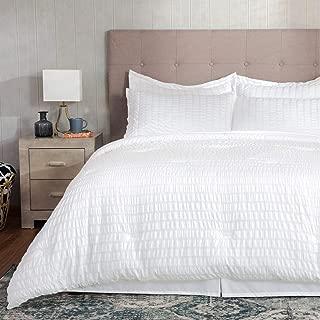 Bedsure 6 Pieces Bed in A Bag White Twin Size, Seersucker Comforter Set Soft Microfiber Bedding Set (1 Comforter, 1 Pillow Sham, 1 Flat Sheet, 1 Fitted Sheet, 1 Bed Skirt, 1 Pillowcase)