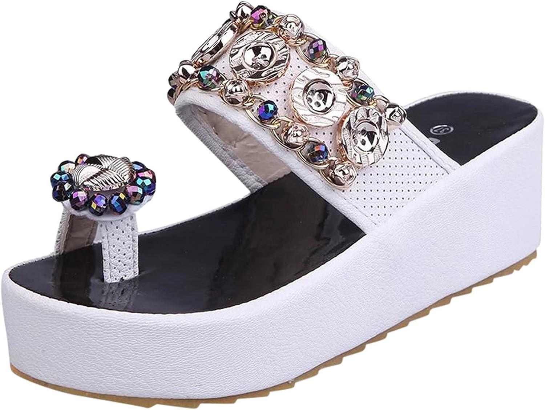 Hemlock Women Thich Bottom Flip Flops Ring Toe Sandals Crystal Wedge Sandals Slippers Slip On Shoes Summer Slide Sandals