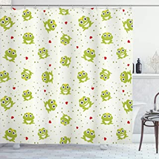 Ambesonne Animal Decor Collection, Cute Illustration of Frog Prince on Heart Dotted Retro Background Love Romance Theme, Polyester Fabric Bathroom Shower Curtain Set with Hooks, Green Grey