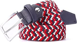 Meetloveyou Men Woven Braided Woven Elastic Stretch Belt With Covered Buckle1-3/8