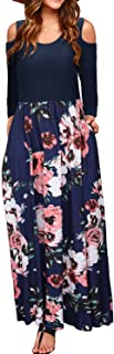 STYLEWORD Women's Cold Shoulder Floral Print Elegant Long Sleeve Dress with Pocket