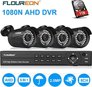 FLOUREON House Security Camera System 1080N DVR + 4 Pack 2.0MP CMOS Lens CCTV Security Camera 3000TVL Night Vision Remote Access Motion Detection (8CH 1080N AHD 3000TVL+1 TB HDD)