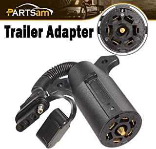 Partsam 7 to 4 Pin Flat Trailer Plug Converter, 6V 12V 24V 7 to 4 Pin Trailer Plug Adapter Blade Round Socket Connector Converter with Secure Cap for Caravan Towbar Tow Hitch