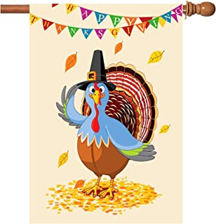 Thanksgiving Flags, 28 x 40 Inch Double-Sided Printing 2 Layer Thanksgiving House Flag Fall Thanksgiving Holiday Autumn Turkey Pumpkin House Flag For Holiday Seasonal Decoration
