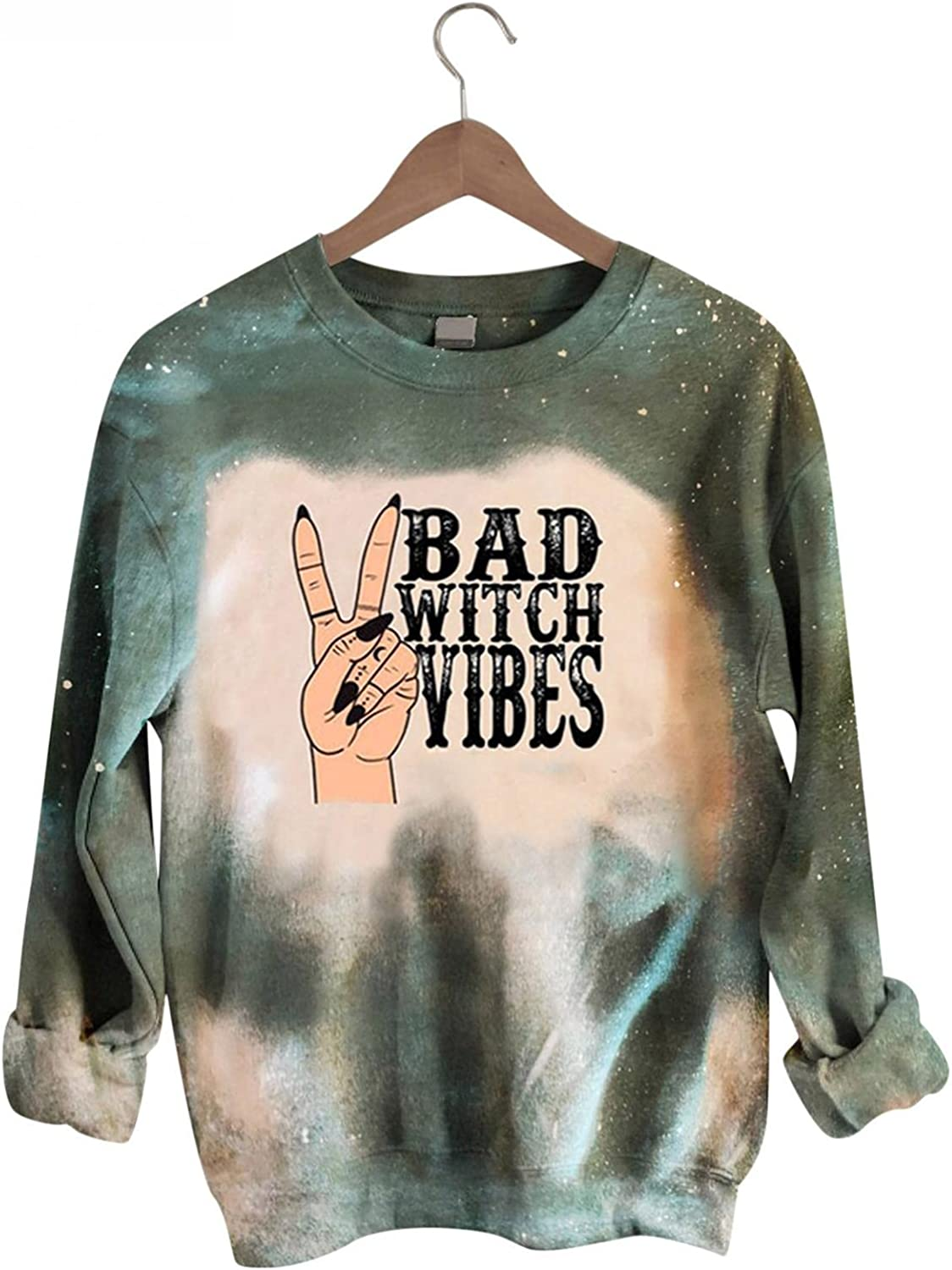 AODONG Sweaters for Women Casual Rainbow Tie Dye Long Sleeves Sweatshirts Fashion Crewneck Loose Fit Pullover Tops