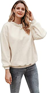 Zandiceno Women's Oversized Cute Fuzzy Fleece Hoodies Sweater Casual Warm Crewneck Sweatshirts Tops