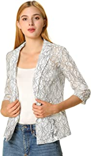 Allegra K Women's 3/4 Sleeves Notched Lapel One-Button Cardigan Lace Blazer