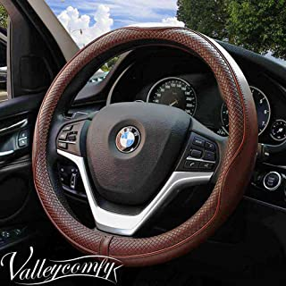Valleycomfy 14.25 inch Auto Car Coffee Steering Wheel Covers- Genuine Leather for Prius Civic