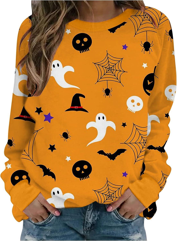 Halloween Sweatshirts for Women, Womens Funny Long Sleeve Bat Ghost Cute Graphic Sweatshirts Fashion Pullover Top