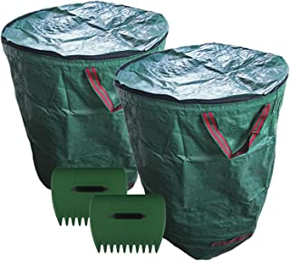 Leaf Waste Bags with lid,Large Storage Capacity 2 x 500 liters (132 gallons) Garden Bag + 2 x Lawn Claws, Perfect for Law...