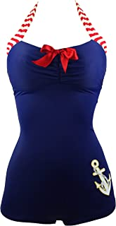 Women's 50s Retro Navy Blue Nautical One Piece Maillot Anchors Away Swimsuit(FBA)