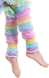 Baby & Toddler Girls Pastel Sherbet Stripe Ruffled Legruffle Leg Warmers