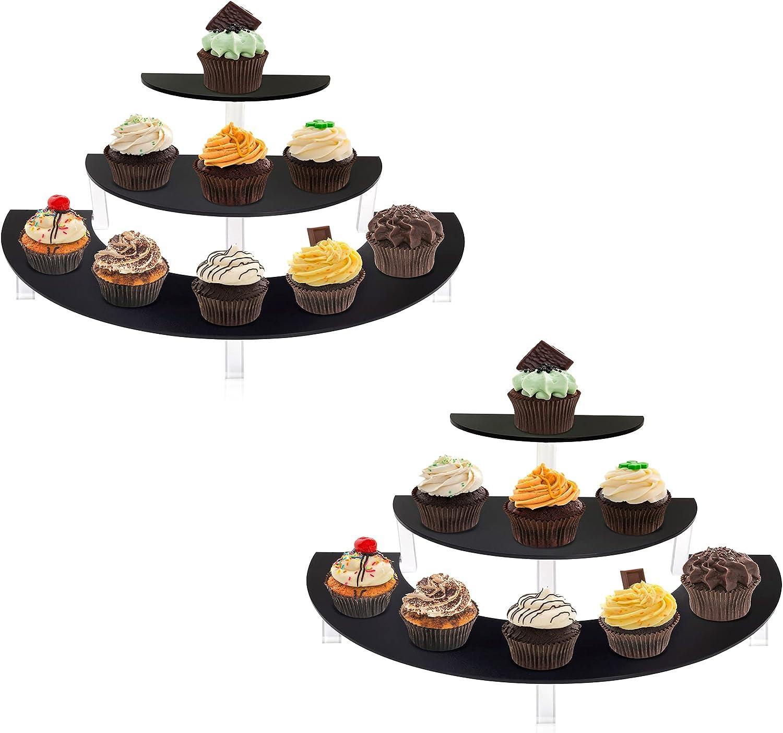 Masqudo Acrylic Cupcake Display Stand 3 Tier Acrylic Step Riser