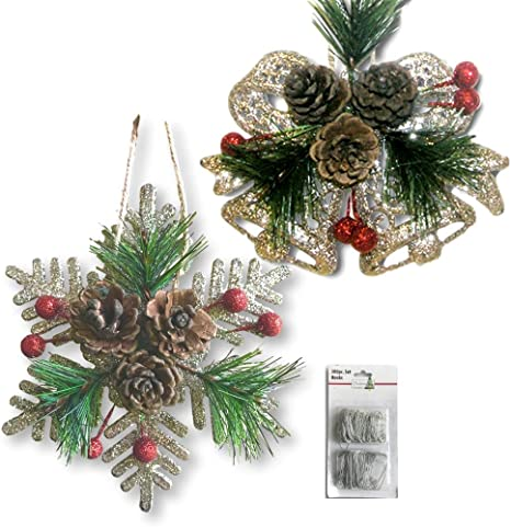 6 pcs Christmas Acorn Ornaments with Pinecone Top Christmas Burlap Baubles Ornaments Shatterproof Hanging Tree Ornaments with Snowy Berries Pine Needles for Rustic Christmas Winter Decoration