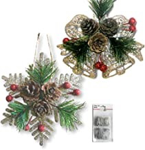 BANBERRY DESIGNS Pinecone Ornaments - Set of 8 Glittered Snowflakes and Bells with Pine Cones, Greenery and Red Berries - ...