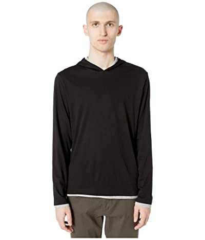 Vince Double Layer Contrast Hoodie (Black/Heather Grey) Men