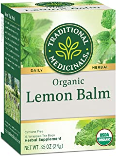 Traditional Medicinals Organic Lemon Balm Herbal Tea (Pack of 6), Calms Nerves & Supports Healthy Digestion, 96 Tea Bags T...