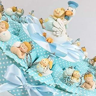 05e9374e7a73b Sindy Porte-clés cigogne avec bébé sur gâteau pour Confetti avec 20 étuis  et Tirelire