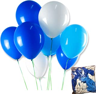 FONBALLOON PARTY Balloons3 Color-White,Blue,Light Blue,12 Inch 100 Pcs,Thicken Round Balloons with Strong Latex for Birthday Party Decorations Supplies