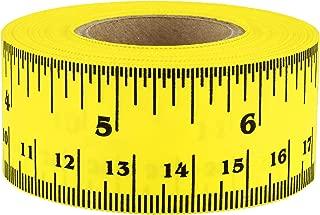 ChromaLabel Ruler Tape   Repeating 12 Inch Imperial & Metric Measurements Imprint (Yellow)