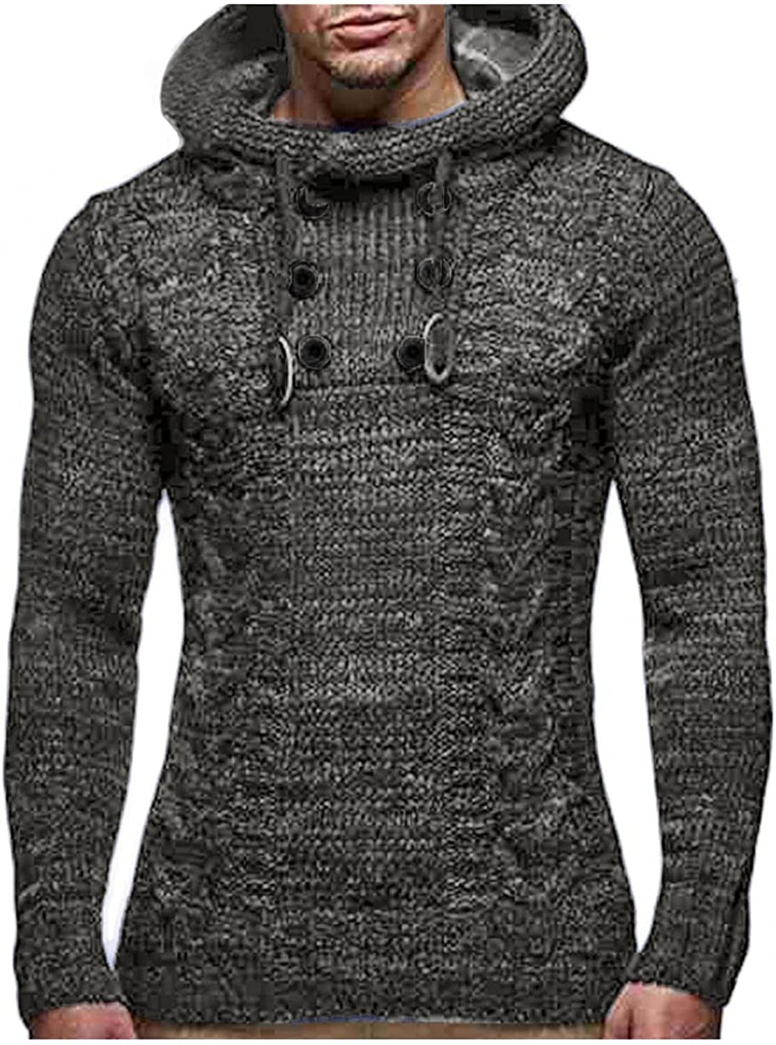 Men's Hoodie Solid Color Athletic Sweatshirt Long Sleeve Turtleneck Pullover Tops Knitted Sweater Fall Winter Outwear