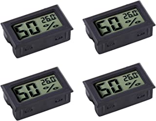Veanic 4-Pack Mini Digital Electronic Temperature Humidity Meters Gauge Indoor Thermometer Hygrometer LCD Display for Humidors Car Greenhouse Indicator Room - Celsius ℃ Display