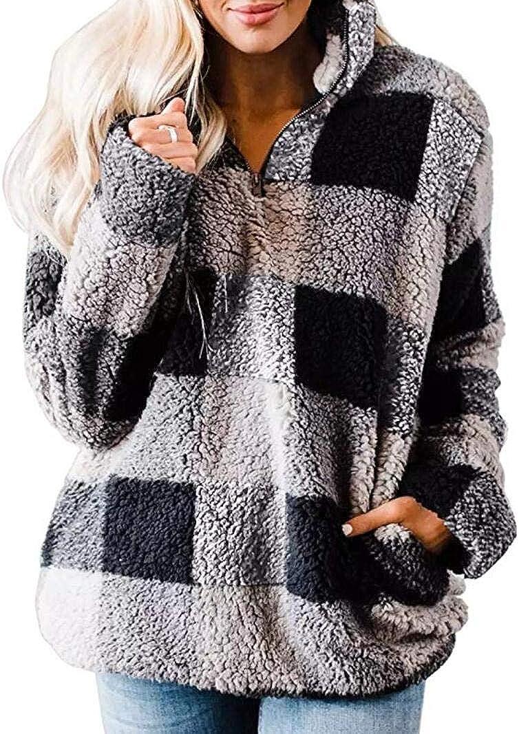 QEHEPA Women's Winter Coat Long Sleeve Sweaters Jackets Zipper Sherpa Fleece Outwear Pullover Jacket Tops with Pocket