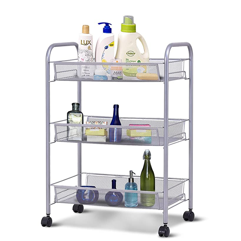 Giantex Storage Rack Trolley Cart Home Kitchen Organizer Utility Baskets (3 Tier, Silver)