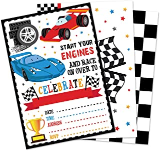 WERNNSAI Racing Car Party Invitation with Envelopes - 20 Count Race Car Party Supplies for Boys Birthday Baby Shower Graduation Fill-in Style Racing Invite Cards