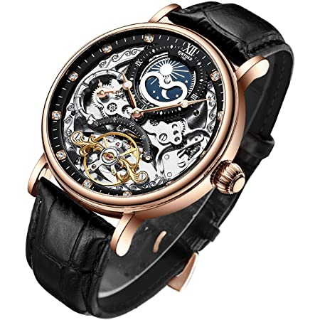 Bestn Mens Luxury Skeleton Automatic Mechanical Wrist Watches Leather Moon Phrase Luminous Hands Self-Wind Watch