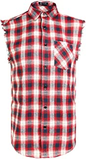 Sleeveless Plaid Snap-Front Shirt for Men, Cowboy Button Down Shitrs Red,3X-Large