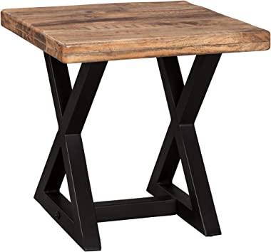 Signature Design by Ashley - Wesling End Table, Brown Top w/ Black Base