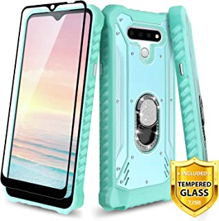 TJS Phone Case Compatible for LG K51, LG Q51, LG Reflect, with [Full Coverage Tempered Glass Screen Protector] Aluminum Ring Stand Magnetic Support Diamond Built-in Metal Plate Back Cover (Teal)