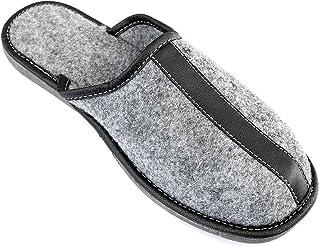 APREGGIO Pantoufles en Feutre Arpeggio Pantoufles pour Hommes Souliers Confort Thermique Gris Qualité Fait à la Main