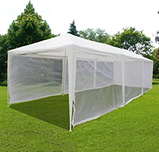 Quictent 10'x30' Outdoor Canopy Gazebo Party Wedding Tent Screen House Sun Shade Shelter with Fully Enclosed Mesh sidewall