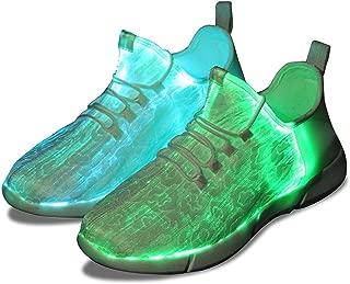 KINGLEAD Fiber Optic Shoes Led Light Up Sneaker Men Women Boys Girls USB Rechargable Flashing Trainers (12 M Women/10.5 M Men) White
