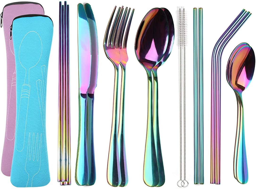 Reusable Travel Utensils Cutlery Set With Case YIMICOO Stainless Steel Portable Flatware Set Silverware Set For Camping Picnic Office Or School Lunch Dishwasher Safe Pink Blue
