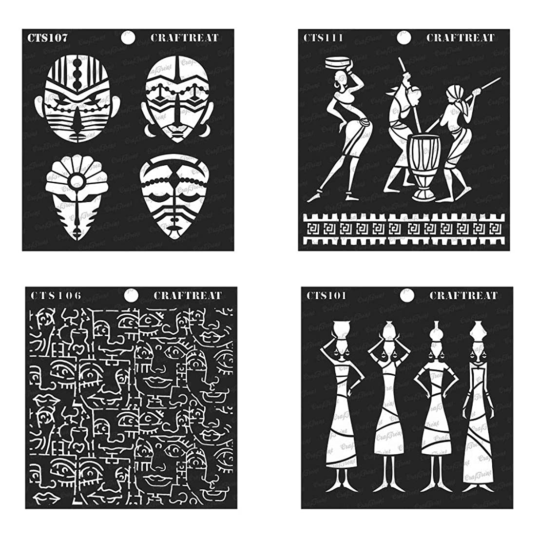 CrafTreat Stencil - Tribal Potters, Daily Chores, Congo Mask & Tribal Face Background (4 pcs) | Reusable Painting Template for Home Decor, Crafting, DIY Albums and Printing on Paper, Wall, Wood 6