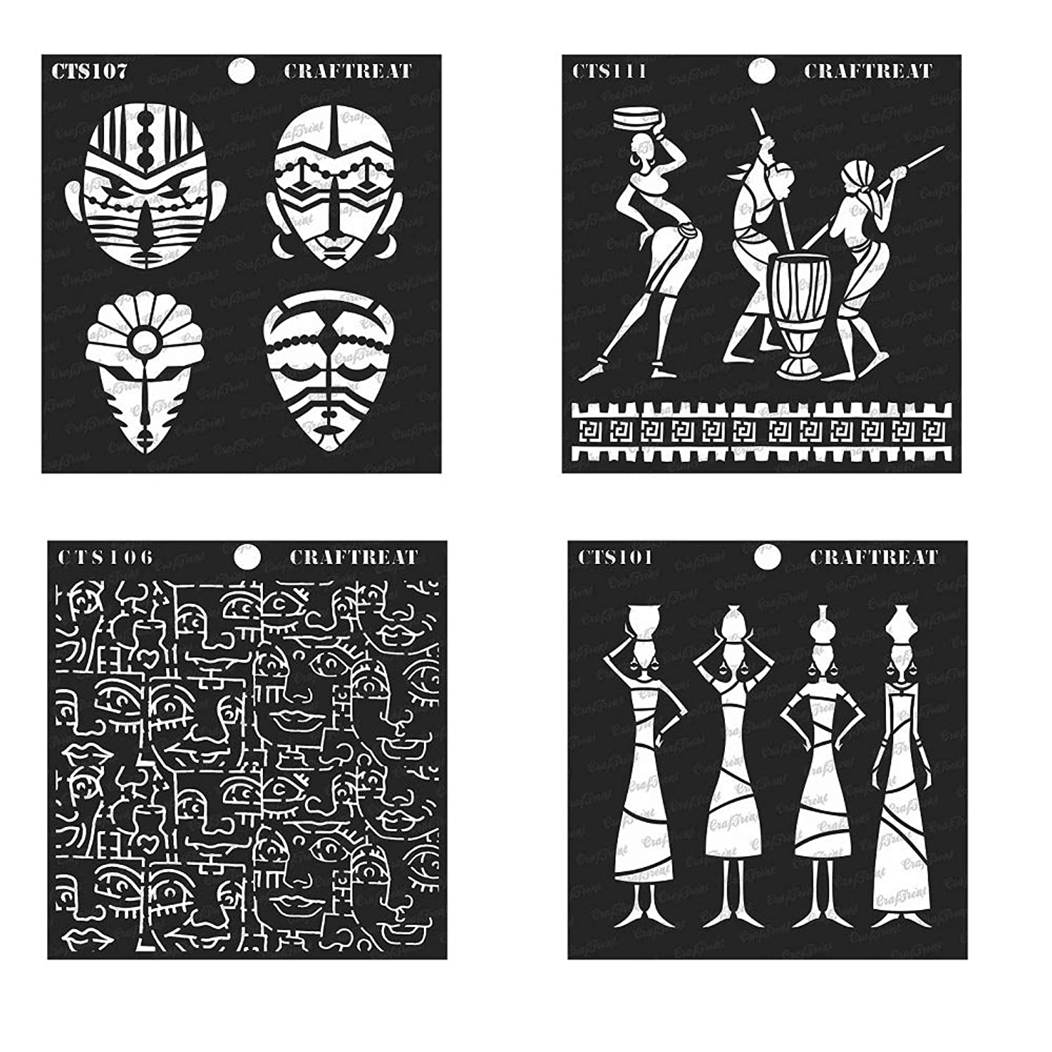 CrafTreat Stencil - Tribal Potters, Daily Chores, Congo Mask & Tribal Face Background (4 pcs)   Reusable Painting Template for Home Decor, Crafting, DIY Albums and Printing on Paper, Wall, Wood 6