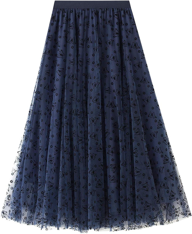 Women Chiffon Tulle Skirt High Waist Elastic Floral Print Double-Layered Mesh A Line Midi Tutu Skirt