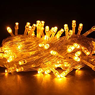 Autolizer 100 LED YELLOW Fairy String Lights Lamp for Xmas Tree Holiday Wedding Party Decoration Halloween Showcase Displays Restaurant or Bar and Home Garden - Control up to 8 modes