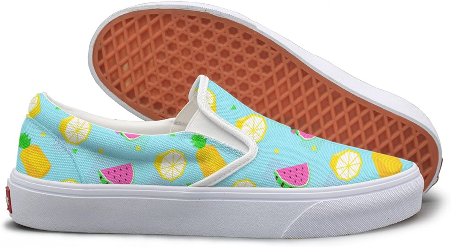 SEERTED Summer Watermelon Pineapple bluee Cartoon Canvas Sneakers for Women