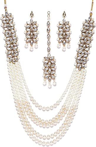 Zaveri Pearls Traditional Pearl Kundan Long Multi Layer Necklace Set for Women-ZPFK6989