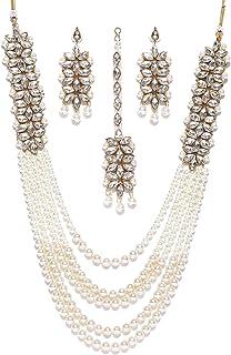 Zaveri Pearls Traditional Pearl Kundan Long Multi Layer Necklace Set for Women-ZPFK6989