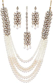 Zaveri Pearls Jewellery Set for Women (Golden)(ZPFK6989)