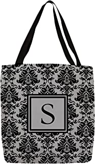 (33cm x 33cm , Black and Grey S) - Thumbprintz - Damask Monogram Tote Bag